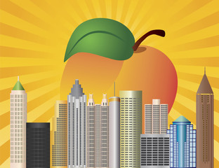 Atlanta Georgia City Skyline  with Peach Illustration