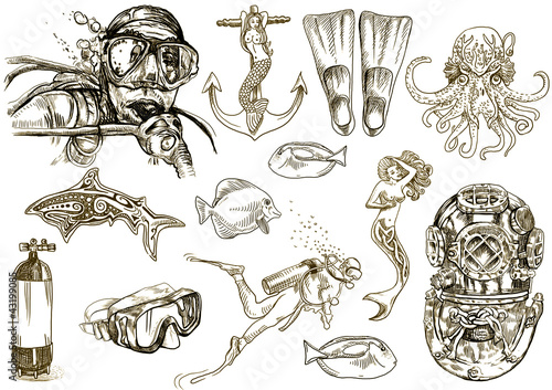 diving-the life of aquatic (hand drawing collection of sketches)