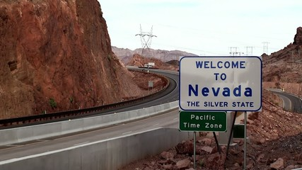 "Road sign ""Welcome to Nevada"", USA"