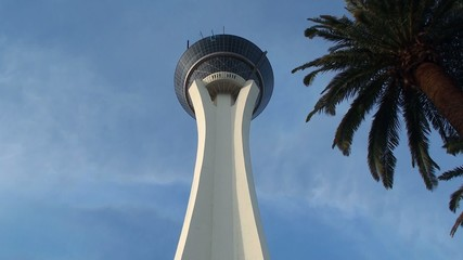 A jump of the rider from the Stratosphere tower (SkyJump, LV)