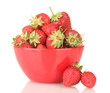 sweet ripe strawberries in bowl isolated on white