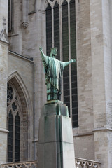 Statue at Sacred Rumold's cathedral in Malines, Belgium