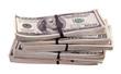 bundles of US dollars. Isolated on white