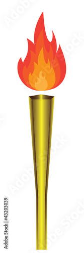 torch with flame on white background. Vector