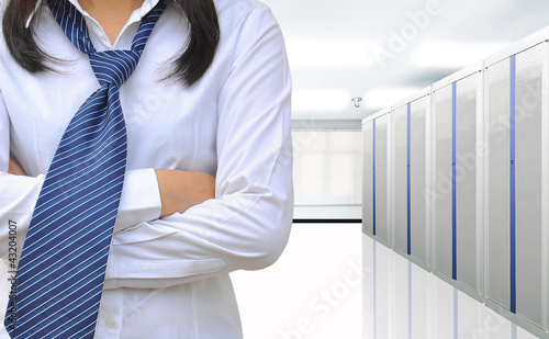 working women in the internet network server room