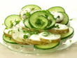Slices of potato and cucumber