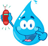 Happy Water Drop Cartoon Character Holding A Telephone