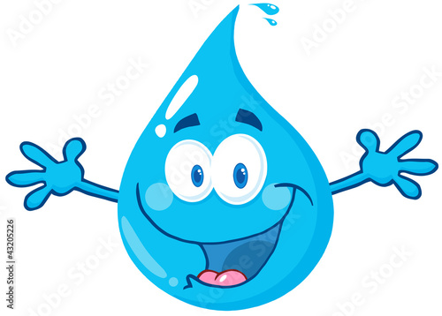 Happy Water Drop With Welcoming Open Arms