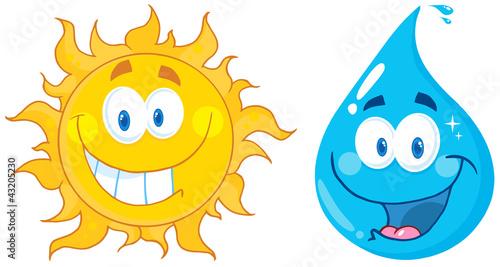 Sun And Water  Cartoon Characters - 43205230