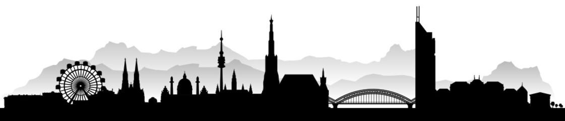 Wien mit Gebirge Alpen