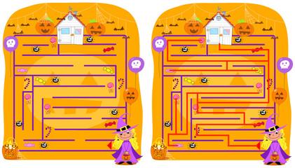 Labirinto di Halloween. Raccogli i dolci ed evita i ragni.