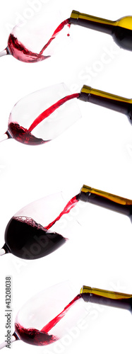 collection of Red wine pouring down from a bottle isolated