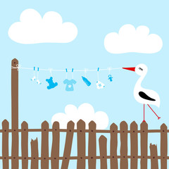 Stork On Fence Holding Clothes Line Baby Symbols Boy