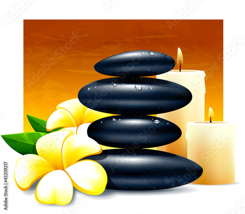 Spa vector illustration with zen stones and flowers.