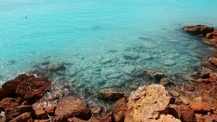 beautiful rocky beach in balearic islands cala saona