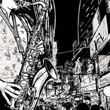 Fototapety saxophonist playing saxophone in a street