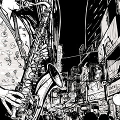 saxophonist playing saxophone in a street