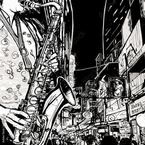 Foto op Canvas Muziekband saxophonist playing saxophone in a street