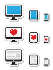 Computer screen, tablet, and smartphone icons