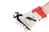 Hand with protection glove holding pincer poster
