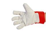 Worker's hand Wearing Leather Work Glove