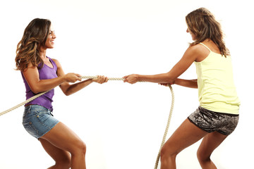 beautiful girls pull the rope