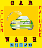 Clean machine, car wash with sponge and hose