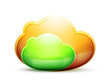 Orange and green space cloud icon