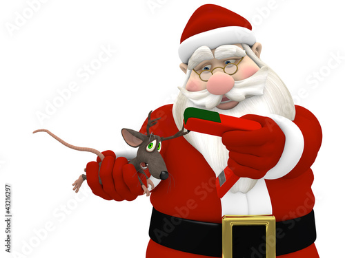 Santa Stapling Antlers on a Mouse