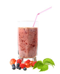 Glass of fruits smoothie