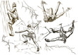 climbers in action (hand drawing collection of sketches)