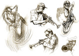 jazz men (hand drawing collection of sketches)