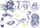 diving - the life of aquatic (hand drawing collection) poster