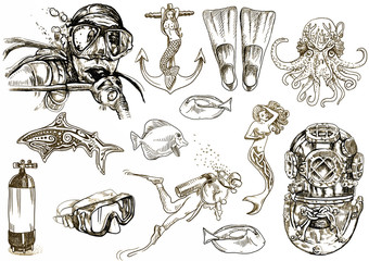 diving - the life of aquatic (hand drawing collection)