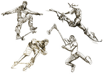 sport for the teens (hand drawing collection of sketches)