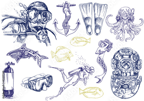 diving - the life of aquatic (hand drawing collection) - 43217241