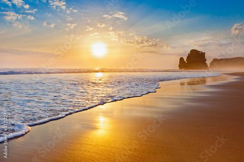 Poster Strand sunset ocean