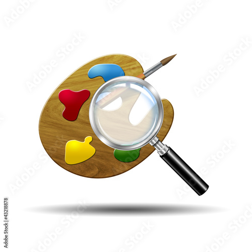 Icono lupa 3D con simbolo paleta de colores