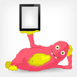 Funny Monster. Tablet User.