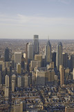 Aerial sunset views of Philiadelphia, Pennsylvania, the City of Brotherly Love