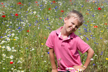 Сhild on a glade of flowers