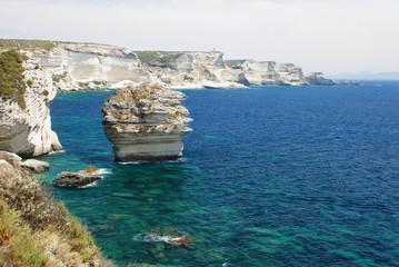 Dramatic sandstone coastline, Bonifacio, Corsica