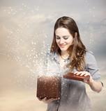 Woman Opening a Gift Box
