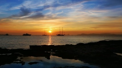 beautiful sunset in balearic islands mediterranean sea