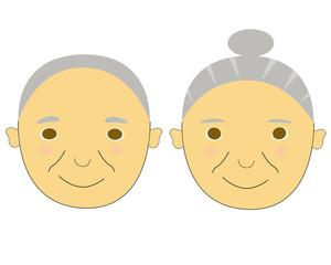 シニアのカップルの顔のイラスト