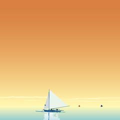 夕暮れのヨット