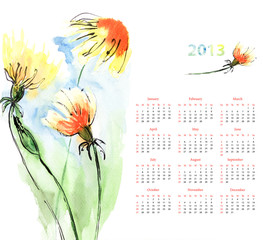 Calendar with Dandelion
