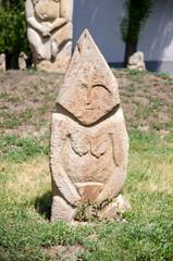 Stone polovtsian sculpture in park-museum of Lugansk, Ukraine