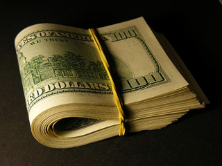 US dollars. Macro image.