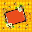 Summer frame with bees and flowers